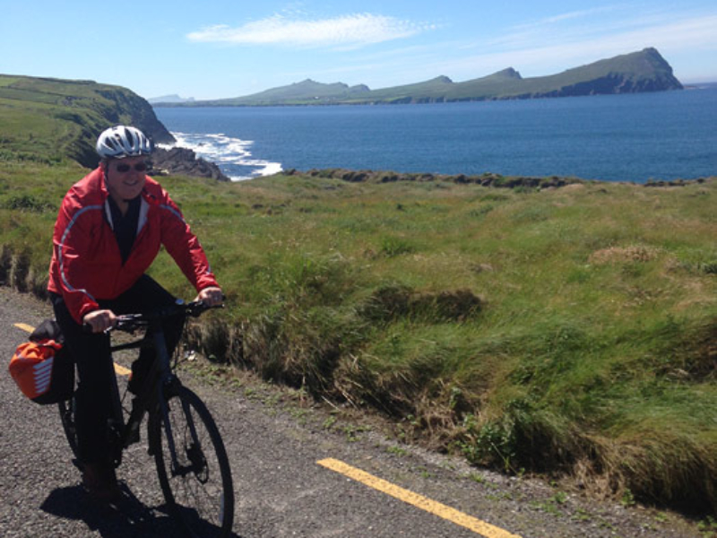 Cycling on the Dingle Peninsula with 'The Three Sisters' in the background